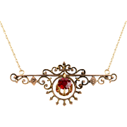 Antique Victorian 14K Rose Gold Pendant Necklace  Delicate Central Motif with Red Stone