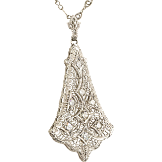 Vintage Edwardian 14K White Gold Filigree Diamond Pendant Necklace   Beautiful   Delicate  RARE