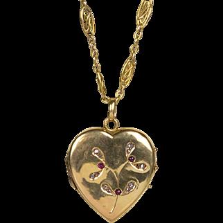 "Antique Art Nouveau 18K Gold Heart Locket Diamonds Rubies   Lovely  21"" Chain  RARE"