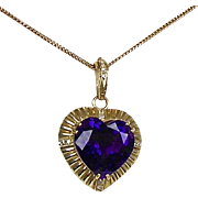 Large Vintage 14K Gold Amethyst Diamond Heart Pendant  21.5 inch Chain  Top Quality