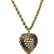 Vintage 14K Gold Heart with Pearls Pendant Necklace  Thick Rope Chain  Top Quality