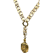 Antique Victorian 14K Gold Book Chain with Locket  Pendant  Necklace  Etruscan Revival  RARE