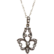 Exquisite Victorian 14K Gold Rose Diamond Fleur de Lis Pendant  Interesting Chain  Top Quality  RARE