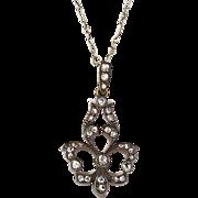 Exquisite Victorian 14K Gold Rose Diamond Fleur de Lis Pendant  Interesting Chain  Top Quality  RARE