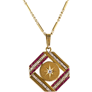 Vintage Art Deco 14K Gold Diamond & Ruby Pendant  Gorgeous Design  Top Quality  RARE