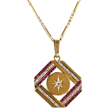 Vintage Art Deco 14K Gold Diamond & Ruby Pendant  Gorgeous Design  Top Quality  RARE - Red Tag Sale Item