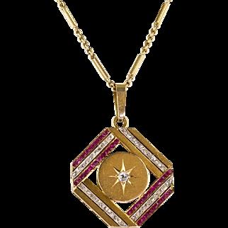 Vintage Art Deco 14K Gold Diamond & Ruby Pendant  Gorgeous Design  Top Quality  RARE