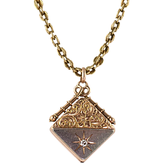 Antique Victorian 14K Rose Gold Platinum Diamond Locket Necklace  Heavy  Gorgeous Detail  RARE
