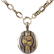 Antique English Victorian Sterling Silver Book Chain Necklace  Large Locket  Gold Accents  RARE