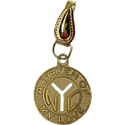 """Vintage 14K Gold NYC Subway Token Charm   """"A Token of My Love"""""""