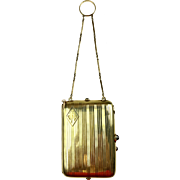 Edwardian Solid 14K Yellow Gold & Sapphire Necessaire c1914   Dance Bag   Vanity Bag   Compact   Pencil  RARE