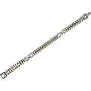Stunning Art Deco Otis Sterling Silver Line Bracelet  2 Row White Sparkly Rhinestones  Top Quality  Rare