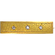 Special Large Victorian 18K Gold Diamond Bar Pin   Large Sparkly Diamonds