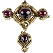 Antique Victorian Large 15K Pinkish Gold Brooch  Large Cabochon Garnets  Removable Drop  Exquisite RARE