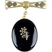 Victorian Black Enamel Mourning Locket on 14K Gold Enamel Bar Pin   Chatelaine Pin   Beautiful Design