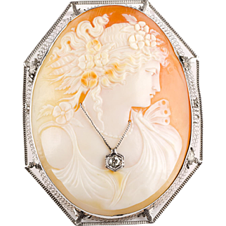 1930s Large Shell Cameo Pin / Pendant in Lovely14K White Gold Filigree Frame  Lady Wearing Diamond Necklace
