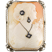 1930s Large Rectangular Cameo with Diamonds Pin Pendant  14K Gold Filigree Frame  RARE