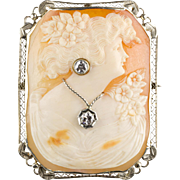 1930s Large Shell Cameo Pin / Pendant  14K White Gold Filigree Frame  Lady with Diamond .45ctw Jewels  RARE