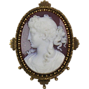Antique Victorian Stone Cameo Brooch / Pendant 15K Gold Frame  Exquisite Deep Carving Quality RARE