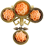 Antique Victorian 15K Gold Carved Coral Brooch with Drop   Exquisite Detail  RARE