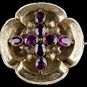 Antique Victorian 18K Gold Garnets Brooch  Chasing  Bezels  Reserve on Back  Exquisite Detail  RARE