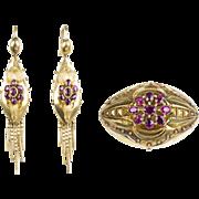Antique Victorian 15K Gold Garnets Brooch & Long Tassel Earrings Set Reserve on Back  GORGEOUS  RARE