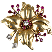 Gorgeous Retro 14K Rose Gold Flower Pin Brooch  Diamonds  Rubies  Top Quality