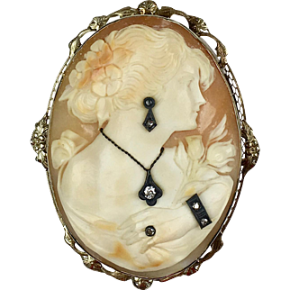 Very RARE 1930s 14K Gold Large Cameo Pin Pendant  4 Diamond Jewels - Pendant, Earring, Ring, Bracelet - A Real Treasure!!