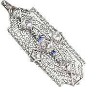 Stunning Art Deco 14K & Platinum Diamond 2ctw Sapphire Pin Pendant  Filigree  Exquisite  Top Quality