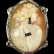 Really Pretty 1930s 14K Gold Large Cameo Pin Pendant  2 Diamond Jewels - Earring, Bracelet  RARE