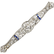 Art Deco Platinum Diamond .75ctw Sapphire Bar Pin  Exquisite Quality  Lots of Sparkle  Stunning  Large
