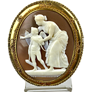 Museum Quality Large English Victorian 15K Gold Cameo Brooch in Box   Lady   Angel   Cupid   RARE