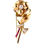 Lovely Retro 14K Rose Gold Diamond Ruby Pin Fur Clip  Flower with Depth & Flow