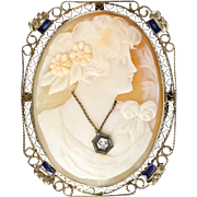 1930s Shell Cameo Pin Pendant 14K Gold Filigree Frame  Lady with Diamond Necklace  Sapphire Accents - Red Tag Sale Item