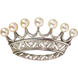 Stunning Vintage French Platinum Diamond Pearl Crown Pin Brooch  Regal Design Top Quality