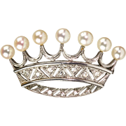 Stunning Vintage French Platinum Diamond Pearl Crown Pin Brooch  Regal Design