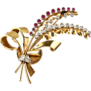 Large Retro French 18K Rose Gold Diamond Ruby Spray Pin Brooch   Stunning Statement