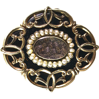 Antique Victorian 14K Gold Enamel Mourning Brooch   Pearls   Braided Hair  Beautiful Design
