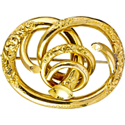 Antique Victorian 14K Love Knot Brooch   Exquisite & Really Lovely  Deep Chasing  3-D  RARE
