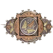 Antique English Victorian Sterling Silver & Gold Brooch  3 Color  Gorgeous Detail & Design