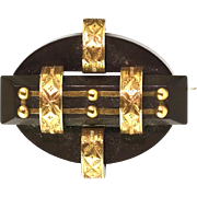 Antique Victorian Gold & Gutta Percha Brooch  Pin / Pendant  Lovely Detail  RARE