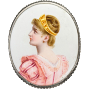 Superb Large Victorian Hand Painted Miniature Portrait Brooch Pin  Exquisite Detail  Silver Frame
