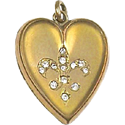 Antique Victorian Heart Locket Charm  Gold Filled  Crystal  Paste  Fleur-de-Lis  RARE