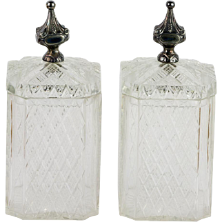 Pair Antique Cut Crystal Covered Boxes or Jars  Exquisite Quality