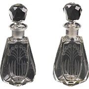 Pair Antique Czech Engraved Crystal Perfume Bottles  Hand Made  Top Quality