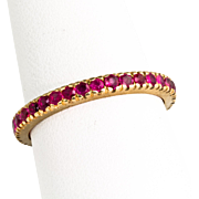 Vintage Retro 14K Rose Gold Ruby Eternity Band Ring  Great for Stacking