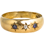 Antique Victorian 18K Gold Diamond Sapphire Ring  Simple Yet Elegant