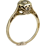 Vintage Art Deco 18K Gold Diamond Promise or Engagement Ring  Lovely  Delicate