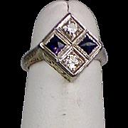 Vintage Art Deco 18K Gold Diamond Sapphire Ring  Full of Sparkle  Unique Design
