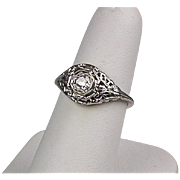 Vintage Art Deco 18K Gold Diamond .35ct Engagement Ring  8 Sided Setting  Filigree